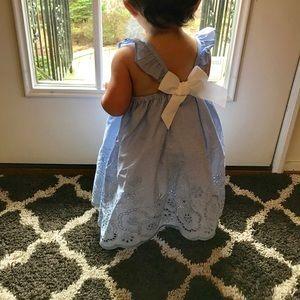 Tahari eyelet flutter strap fully lined dress